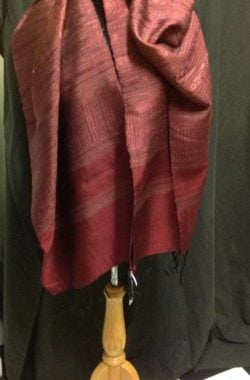 Pure silk scarf in rich pomegranate colours. aaall over pattern and border