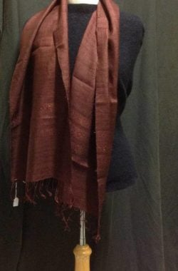 Handwoven pure silk scarf in soft mulberry colours