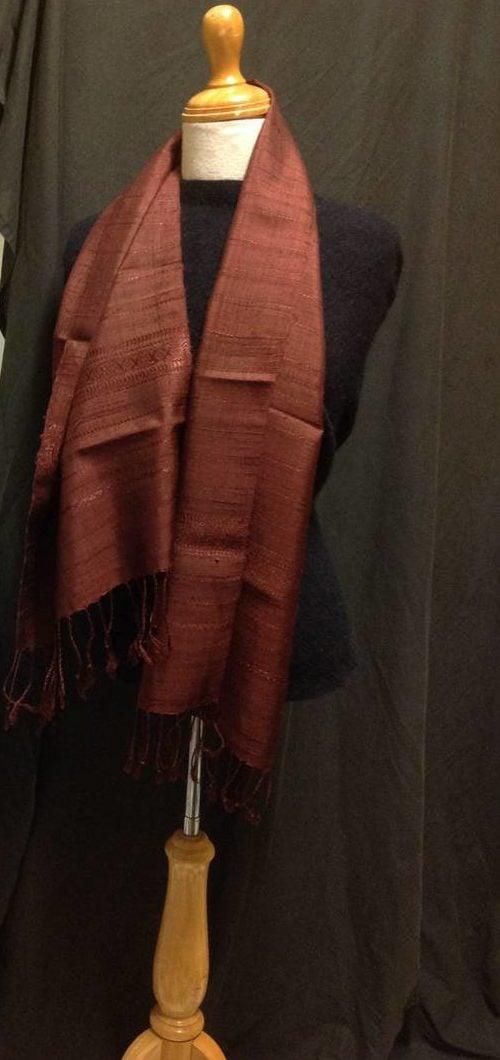 Pure silk handwoven in Laos fine weave in cinnamon and mulberry colour