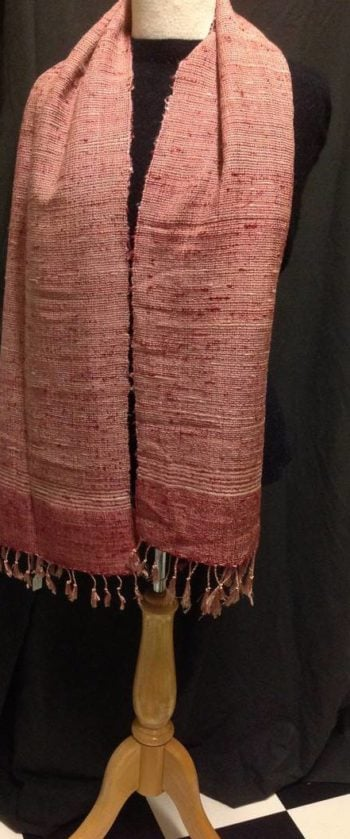 Handwoven red slub silk scarf. Woven in Laos, heavy weave and large size