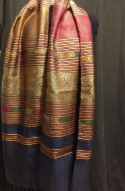 Exotic handwoven traditional scarf and or hangings from Laos, hwndwoven, natural dyes and gold