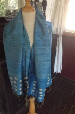 Hand woven silk scarf from Thailand. Blue and wheat colours in square design. Light weave