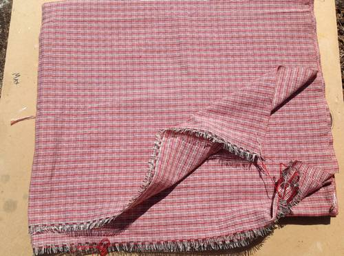 Red and white check hand loomed cotton fabrid from Thailand