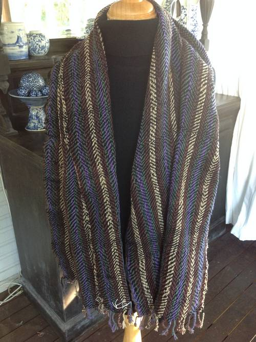 Cotton scarf handwoven in Thailand , mulit coloured, Blue, gree, brown and natyral