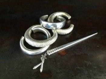handmade Thai silver bracelets and one hayrpin